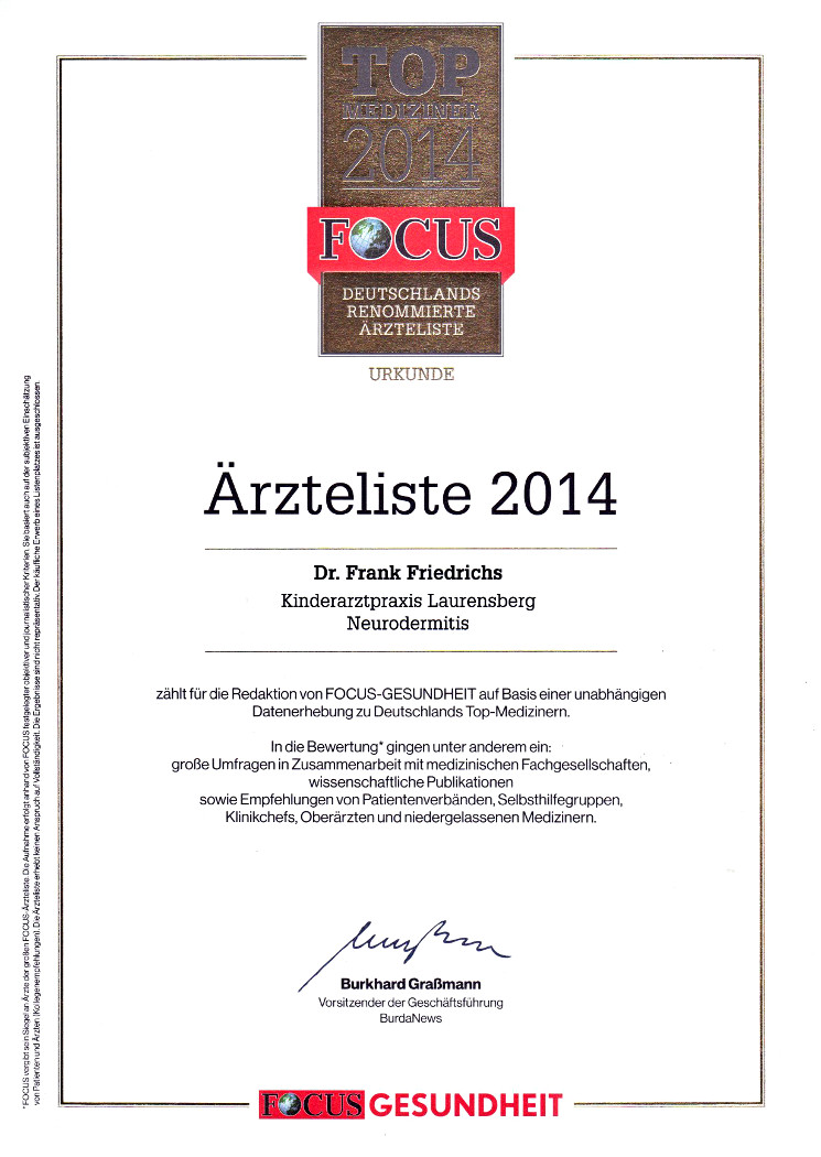 FocusUrkunde2014 Neurodermitis